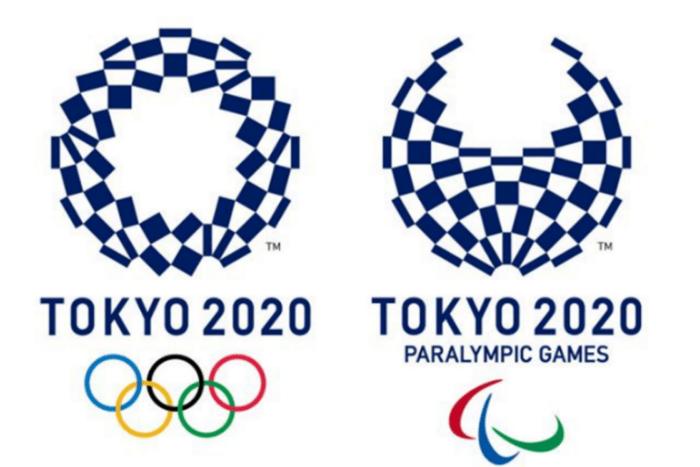 Το λογότυπο του Τόκιο 2020 για ολυμπιακούς και παραολυμπιακούς, κύκλος και ημικύκλιο που αποτελείται από μπλε τετραγωνάκια.