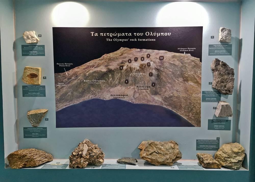 εκθέματα πετρώματα του Ολύμπου
