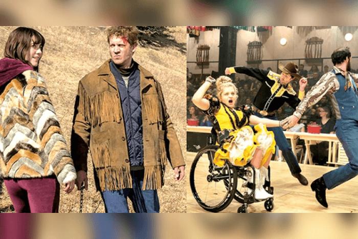 Δύο φωτογραφίες: Αριστερά ο Russell Harvard από το τηλεοπτικό Fargo. Δεξιά: Άλι Στρόκερ στην ταινία «Οκλαχόμα!»