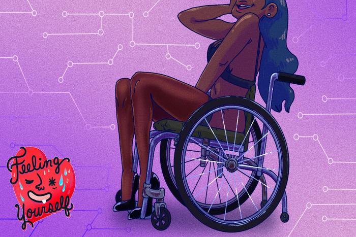 Ιλουστρέισον μαύρης χρήστριας αμαξιδίου με εσώρουχα και το χέρι της ανάμεσα στα πόδια της, μοβ φόντο