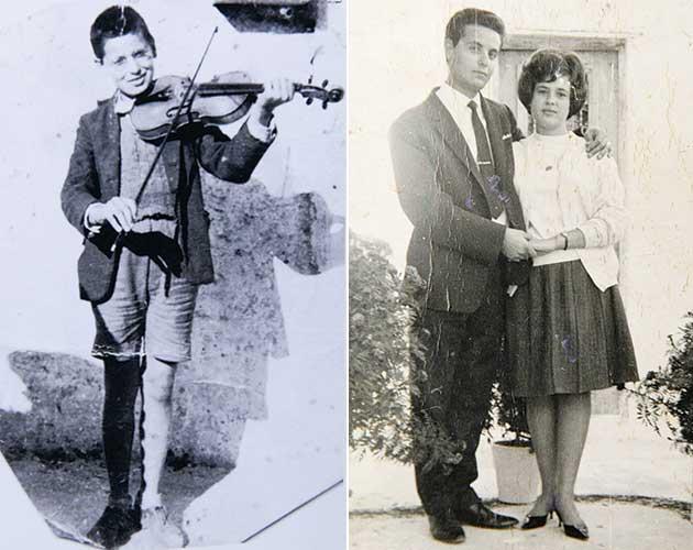 Δύο εικόνες: αριστερά ο Στάθης Κουκουλάρης σε μικρή ηλικία παίζοντας βιολί και δεξιά με τη συζυγό του σε νεαρή ηλικία.