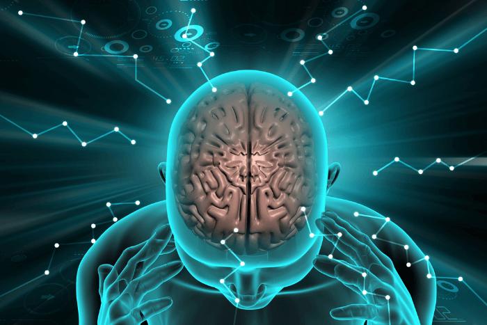 Φωτογραφία ανθρώπινου εγκεφάλου μέσα από ψηφιακό σύστημα υπολογιστή