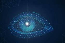 ανθρώπινο μάτι μέσα από ηλεκτρονικό υπολογιστή, ψηφιακή απεικόνιση