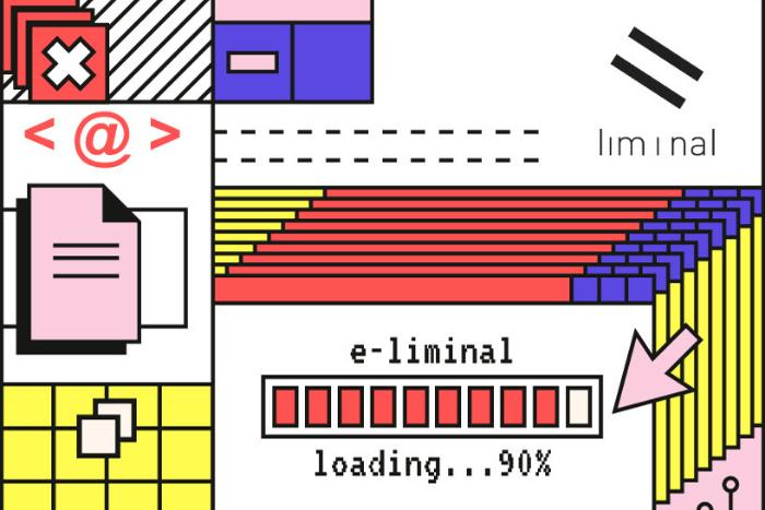 """Μπάνερ με διάφορα χρωματιστά σχέδια, ψηφιακά σύμβολα όπως """"@"""" στη μέση μια γραμμή που γεμίζει και γράφει e-liminal loading 90% και πάνω δεξιά το λογότυπο της liminal"""