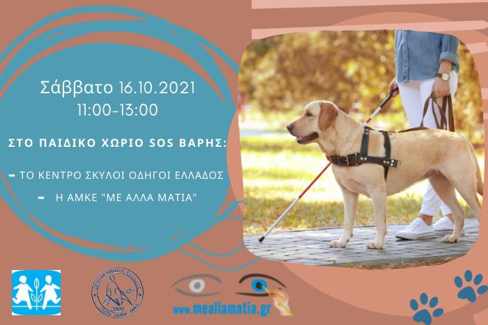 Σκύλος Οδηγός με τυφλό άτομο που κρατάει λευκό μπαστούνι και πληροφορίες εκδήλωσης